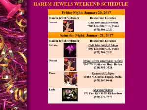 HAREM JEWELS WEEKEND SCHEDULE Jan 20-21, 2017